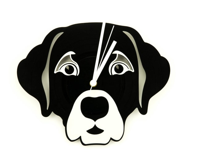 Vinyl clock | Dog wall clock | Vinyl record clock | Black and white clock | Dog lover's clock | Modern home decor | Vinyl dog clock