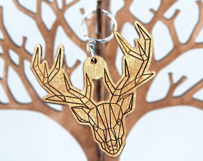 Deer keychain | Handmade keychain | Eco friendly keychain | Wooden keychain | Modern keychain | Artistic keychain | christmas gift