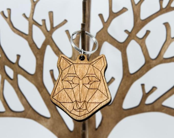 Wolf keychain | Polygonal keychain | Wooden animal keychain | Handmade keychain | Artistic keychain | Anniversary gift | Modern keychain