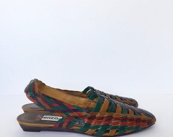 a8c4ece34185 Vintage Enzo Angiolini Multi-Colored Huaraches Sandals Size 8.5 M