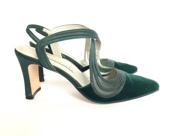 Vintage Apostrophe Green Velvet Slingback Heels Size 6.5