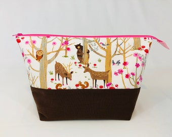 Animal Woodland Pink Toiletry Cosmetic Bag