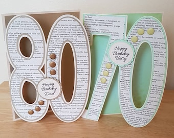 Large Number 30 40 50 60 70 80 90 Birthday Card For Him Her Mum Dad Daughter Son Sister Brother Female Male Friend Auntie Uncle Grandma