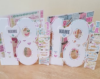 Girlie Girl 18th Birthday Card For Daughter Sister Niece Granddaughter Her Personalised Large Number Cards 18 Year Old Female Friend