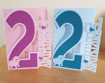Personalised Birthday Card For A 2 Year Old Girl Boy 2nd Son Daughter Granddaughter Grandson Sister Brother Niece Nephew