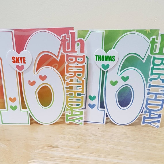 Personalised Birthday Card For A 16 Year Old Girl Boy Son
