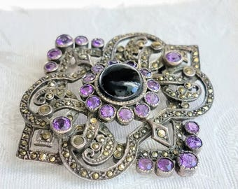 Vintage Amethyst Marcasite Sterling Silver Pin Pendant, Purple Silver Marcasite Brooch, Art Deco Amethyst Brooch, Costume Jewelry Necklace
