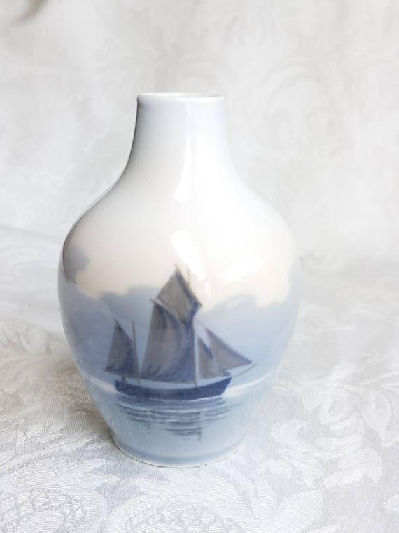 Vintage Royal Copenhagen Vase White Blue Porcelain Vase With Etsy