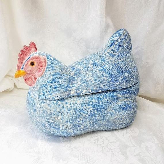 Vintage Large Chicken Cookie Jar Blue Speckled Hen Ceramic Etsy