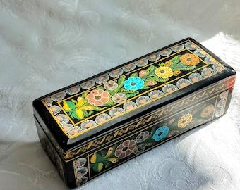Vintage Folk Art Hand Painted Wooden Box, Floral Trinket Box Bohemian Decor, Folk Art Floral Box, Black Yellow Bohemian Housewarming Gift