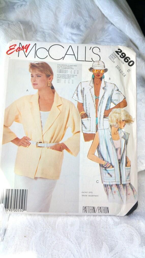 Solía fácil coser patrón 2960 la década de 1980 sin forro   Etsy