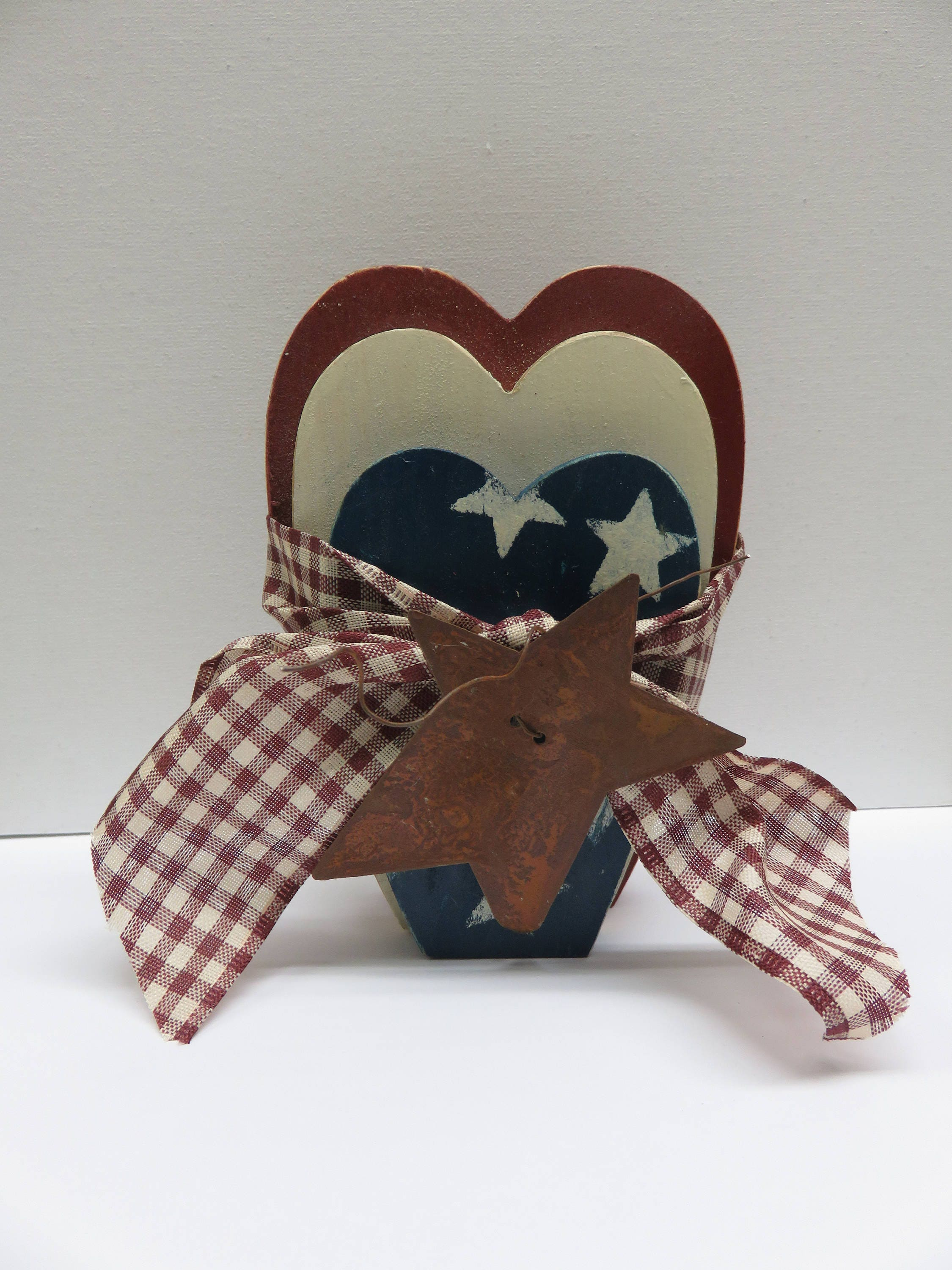 Americana,Trio,of,Hearts,Country,Style,Set,Housewares,Home_Decor,americana,america,country_hearts,hearts,trio_of_hearts,Americana_hearts,for_your_home,home_decor,painted_hearts,red_white_blue,heart_decor,nested_hearts,heart,wood,fabric,tin