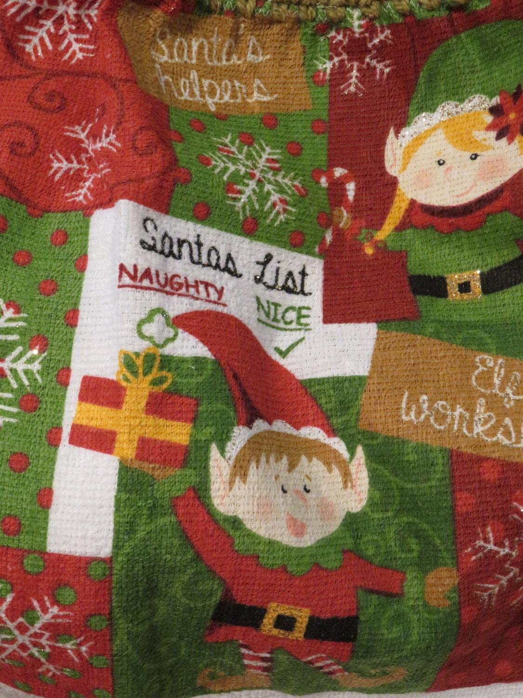 Santa's,List,Elf,Towel,Crocheted,Top,Kitchen,Housewares,towel,kitchen_towel,kitchen_linen,for_your_home,crocheted_top_towel,crocheted_topper,tablelinen,table_linen,christmas_towel,Christmas_tree,Christmas_linens,Santas_list,elf_towel,terry cloth,yarn,button