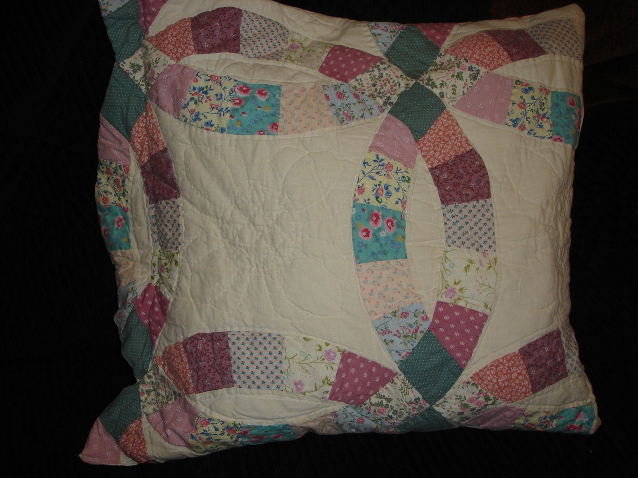 Quilted,Wedding,Ring,Pillow,Pocket,18,inch,Vintage,Upcycled,Quilt,Housewares,upcycled,vintage,pillow,pillow_pocket,pillow_shell,pink_chenille,for_your_home_shop,pillow_form,home_decor,bedroom_decor,living_room_decor,throw_pillow,wedding_ring_quilt,ribbon,plastic,fabric