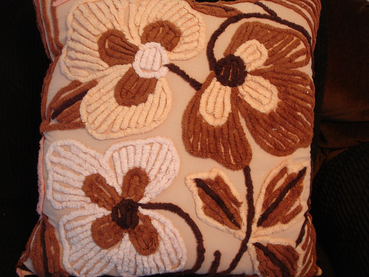 Chenille,Pillow,with,Brown,Flowers,Vintage,Upcycled,Quilt,Housewares,upcycled,vintage,pillow,pillow_pocket,pillow_shell,pink_chenille,for_your_home_shop,pillow_form,home_decor,bedroom_decor,living_room_decor,throw_pillow,rectangle_pillow,fabric,fiberfill