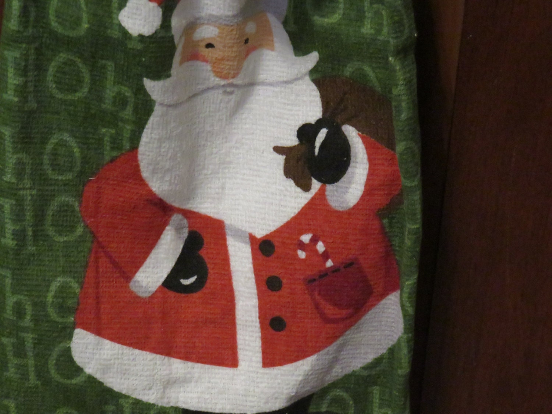 Ho,Santa,Towel,Crocheted,Top,Kitchen,Housewares,towel,kitchen_towel,kitchen_linen,for_your_home,crocheted_top_towel,crocheted_topper,tablelinen,table_linen,country_linen,santa_towel,santa_kitchen_towel,Christmas_towel,Christmas_linen,terry cloth,yarn,button