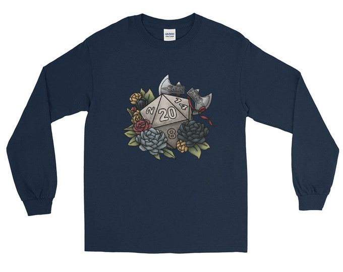 Barbarian D20 Long Sleeved T-Shirt Unisex - D&D Tabletop Gaming