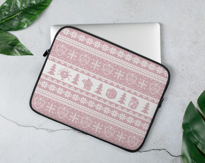 """Roll for Initiative Fair Isle D20 Laptop Sleeve in """"Frosting"""" - D&D Tabletop Gaming"""