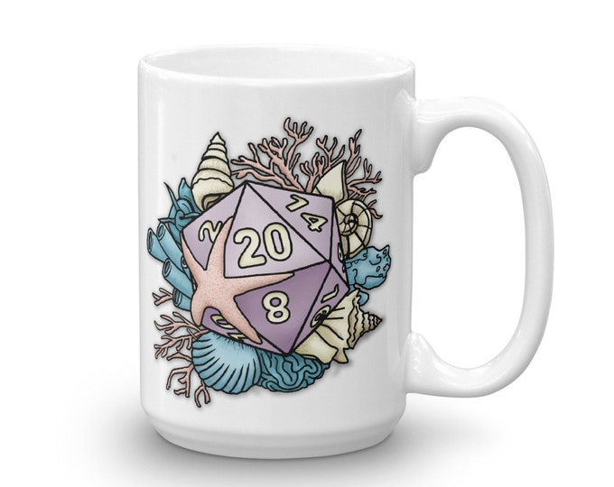 Mermaid D20 Mug - D&D Tabletop Gaming