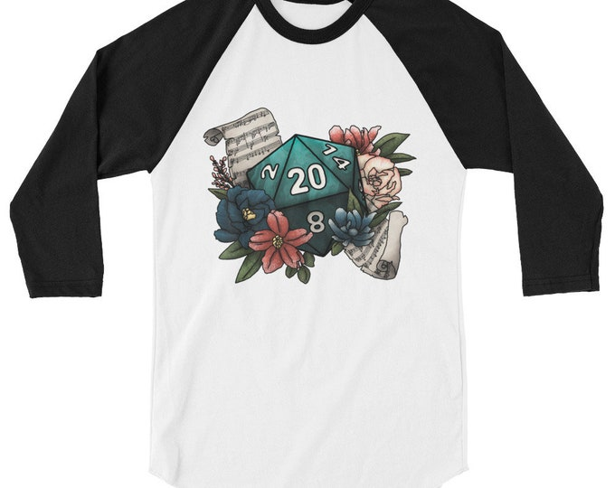 Bard Class D20 3/4 sleeve raglan shirt - D&D Tabletop Gaming