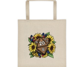 Sunflower D20 Canvas Tote Bag - D&D Tabletop Gaming
