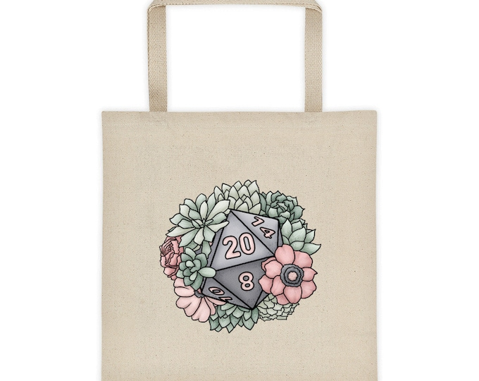 Succulent D20 Canvas Tote Bag - D&D Tabletop Gaming