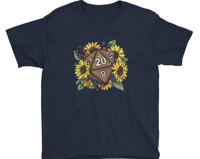 Sunflower D20 Youth Kids Short Sleeve T-Shirt - D&D Tabletop Gaming