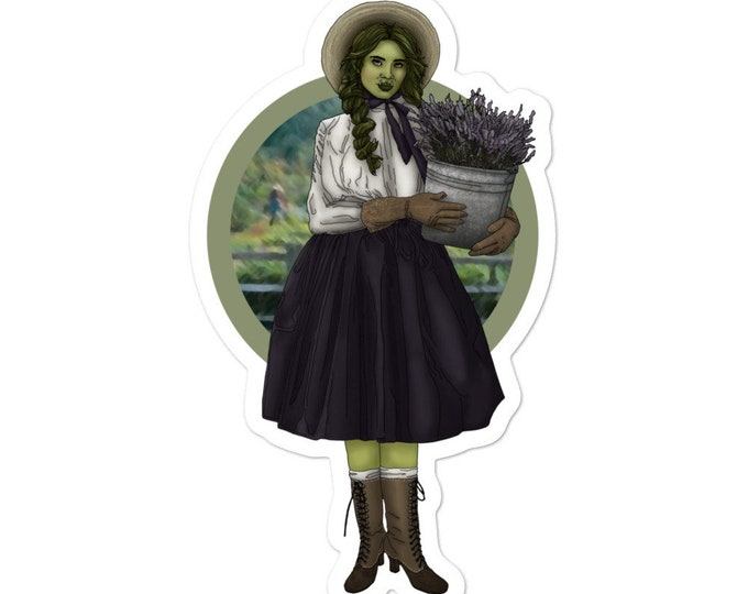 Country Herbalist Half Orc - Vinyl Sticker - D&D Tabletop Gaming - Blackfeather Boutique