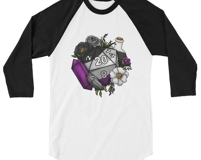 Pride Asexual D20 3/4 sleeve raglan shirt - D&D Tabletop Gaming