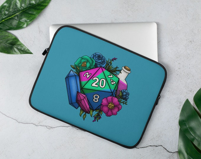 Polysexual Pride D20 Laptop Sleeve - D&D Tabletop Gaming