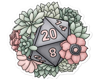 Succulent D20 - Vinyl Sticker - D&D Tabletop Gaming