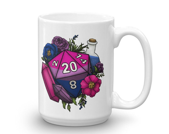 Pride Bisexual D20 Mug - D&D Tabletop Gaming
