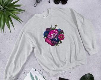 Bisexual Pride D20 Unisex Sweatshirt - D&D Tabletop Gaming