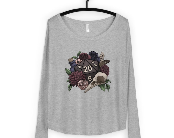 Necromancer D20 Ladies' Flowy Long Sleeve Tee - D&D Tabletop Gaming
