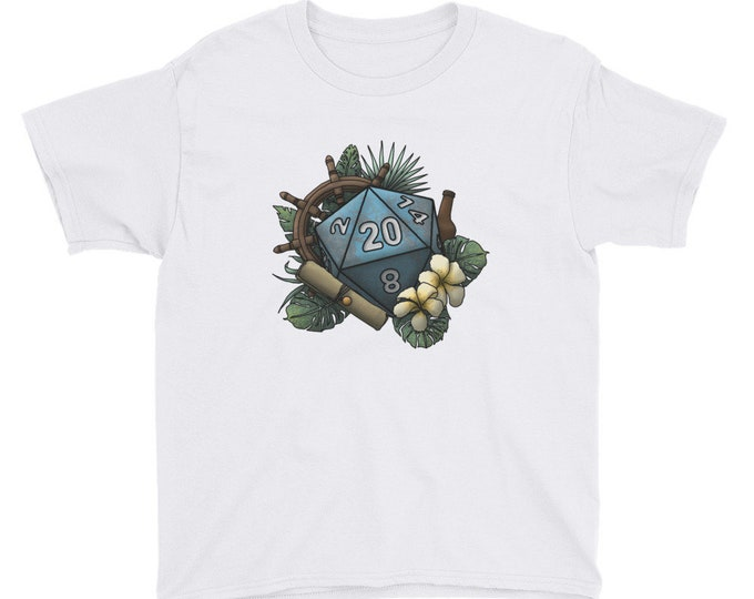 Seafaring D20 - Youth Short Sleeve T-Shirt - D&D Tabletop Gaming