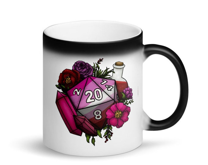 Lesbian Pride D20 - Heat Activated Color Change Mug - D&D Tabletop Gaming