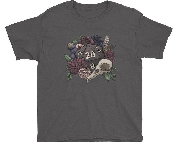 Necromancer D20 Youth Kids Short Sleeve T-Shirt - D&D Tabletop Gaming