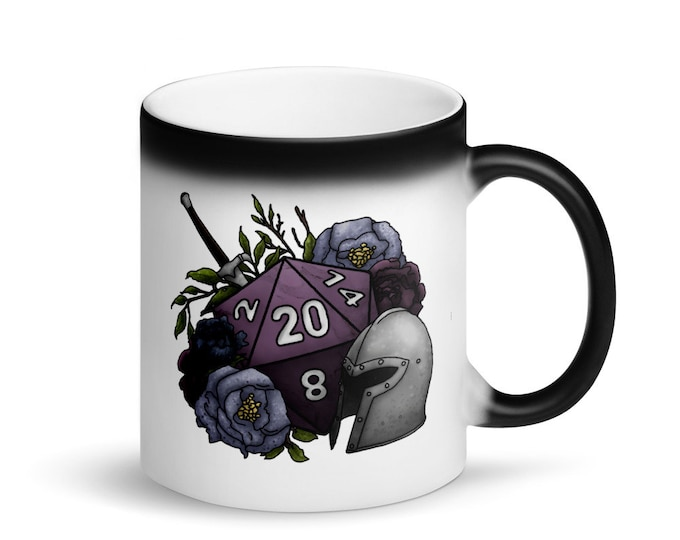 Fighter D20 - Heat Activated Color Change Mug - D&D Tabletop Gaming