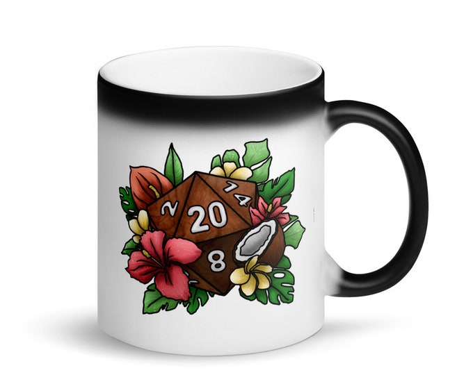 Tropical D20 - Heat Activated Color Change Mug - D&D Tabletop Gaming