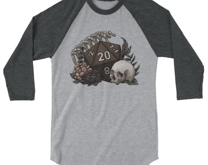 Skeleton D20 3/4 sleeve raglan shirt - D&D Tabletop Gaming
