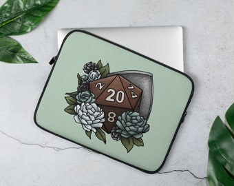 Paladin Class D20 Laptop Sleeve - D&D Tabletop Gaming
