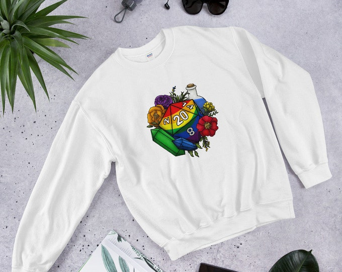 Rainbow Gay Pride D20 Unisex Sweatshirt - D&D Tabletop Gaming