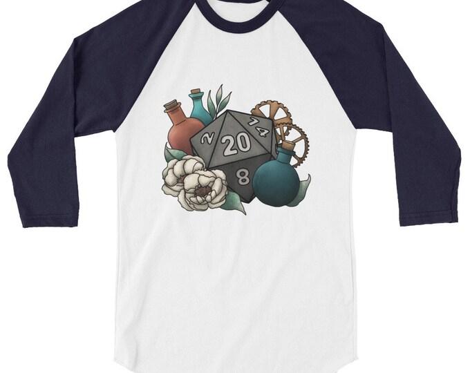 Artificer D20 - 3/4 sleeve raglan shirt - D&D Tabletop Gaming
