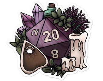 Witchy D20 - Vinyl Sticker - D&D Tabletop Gaming