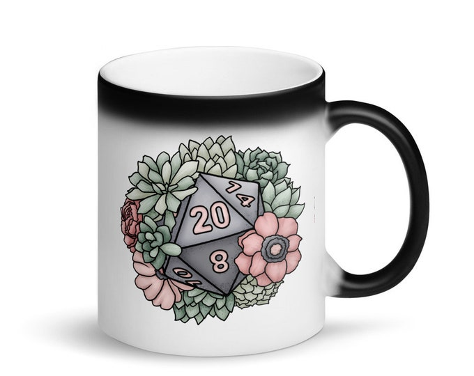 Succulent D20 - Heat Activated Color Change Mug - D&D Tabletop Gaming