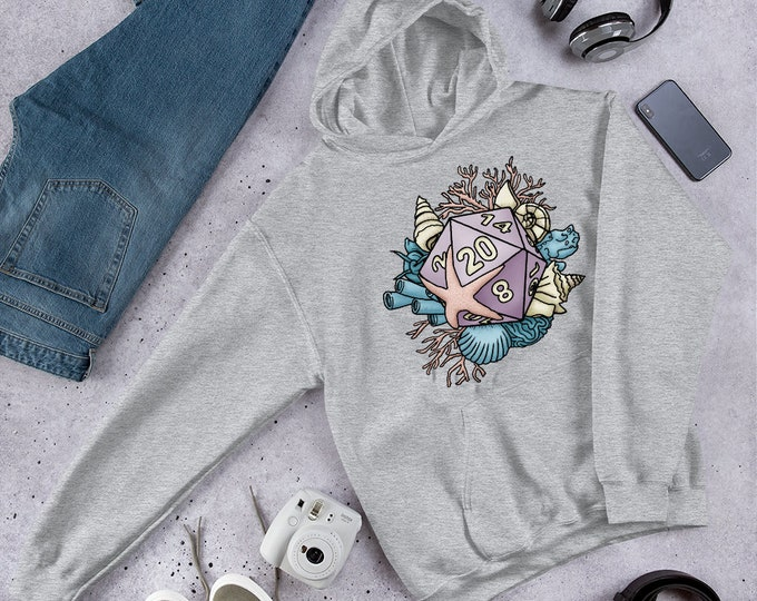 Mermaid D20 Hooded Sweatshirt - D&D Tabletop Gaming