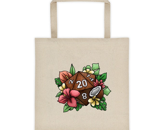 Tropical D20 Canvas Tote Bag - D&D Tabletop Gaming