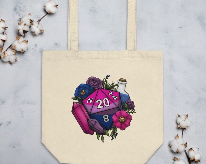 Bisexual Pride D20 Tote Bag - D&D Tabletop Gaming