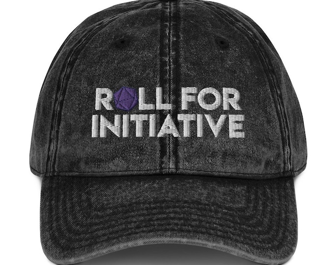 Roll for Initiative Embroidered Vintage Cotton Twill  Hat - D&D Tabletop Gaming