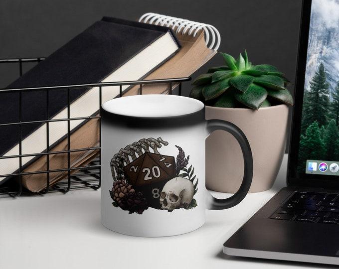 Skeleton D20 Heat-Activated Color Change Mug - D&D Tabletop Gaming